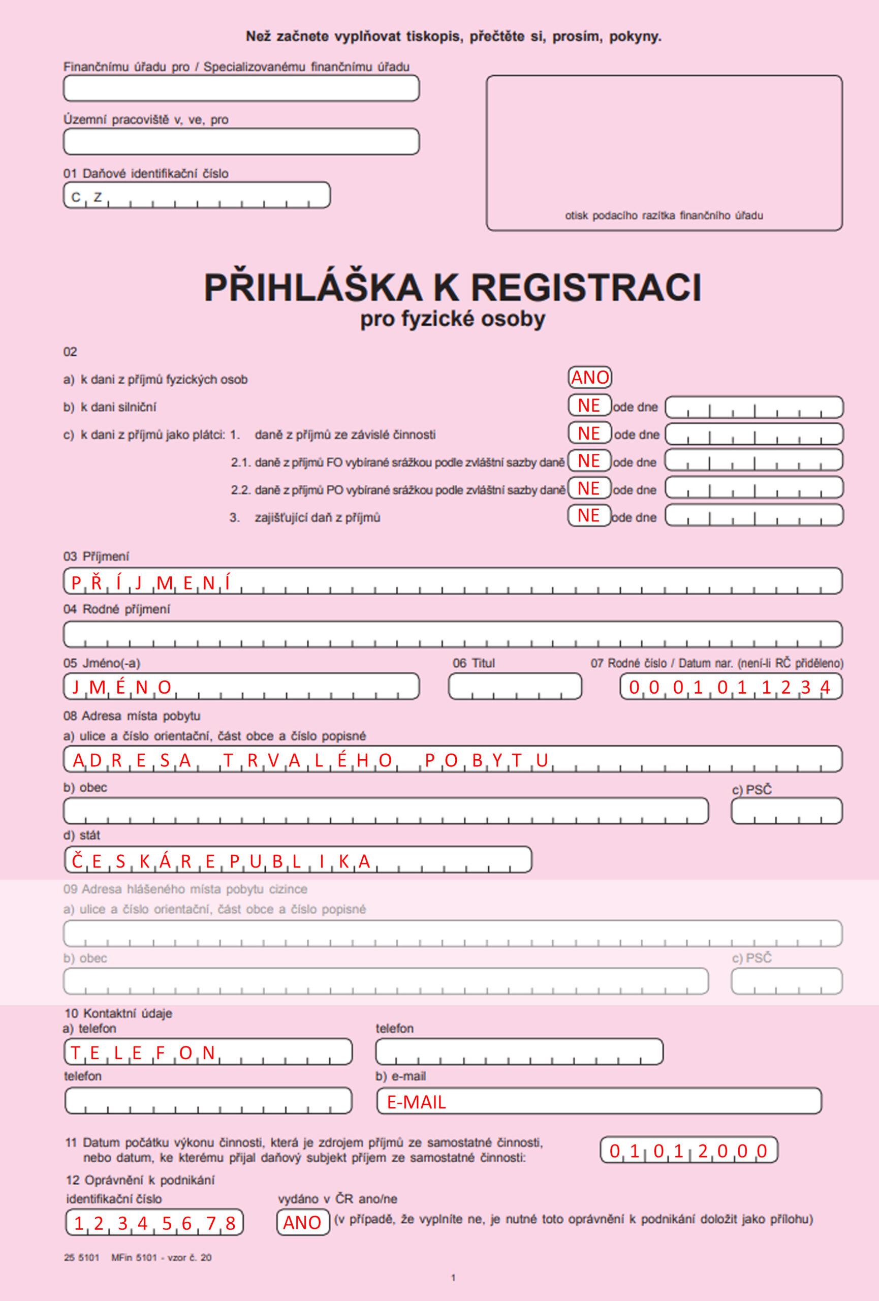 Přihláška k registraci pro fyzické osoby