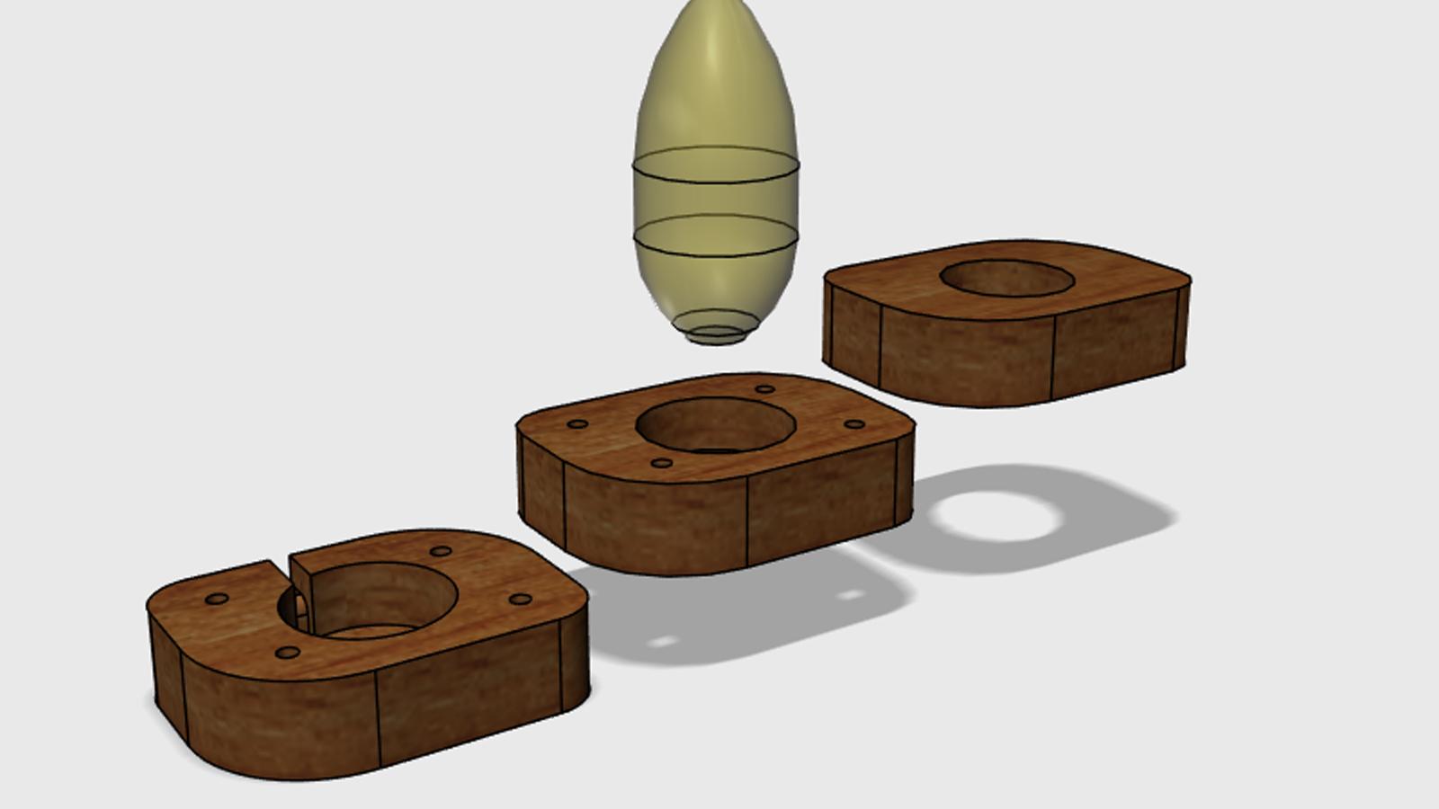 Lampa z akátového dřeva - explode