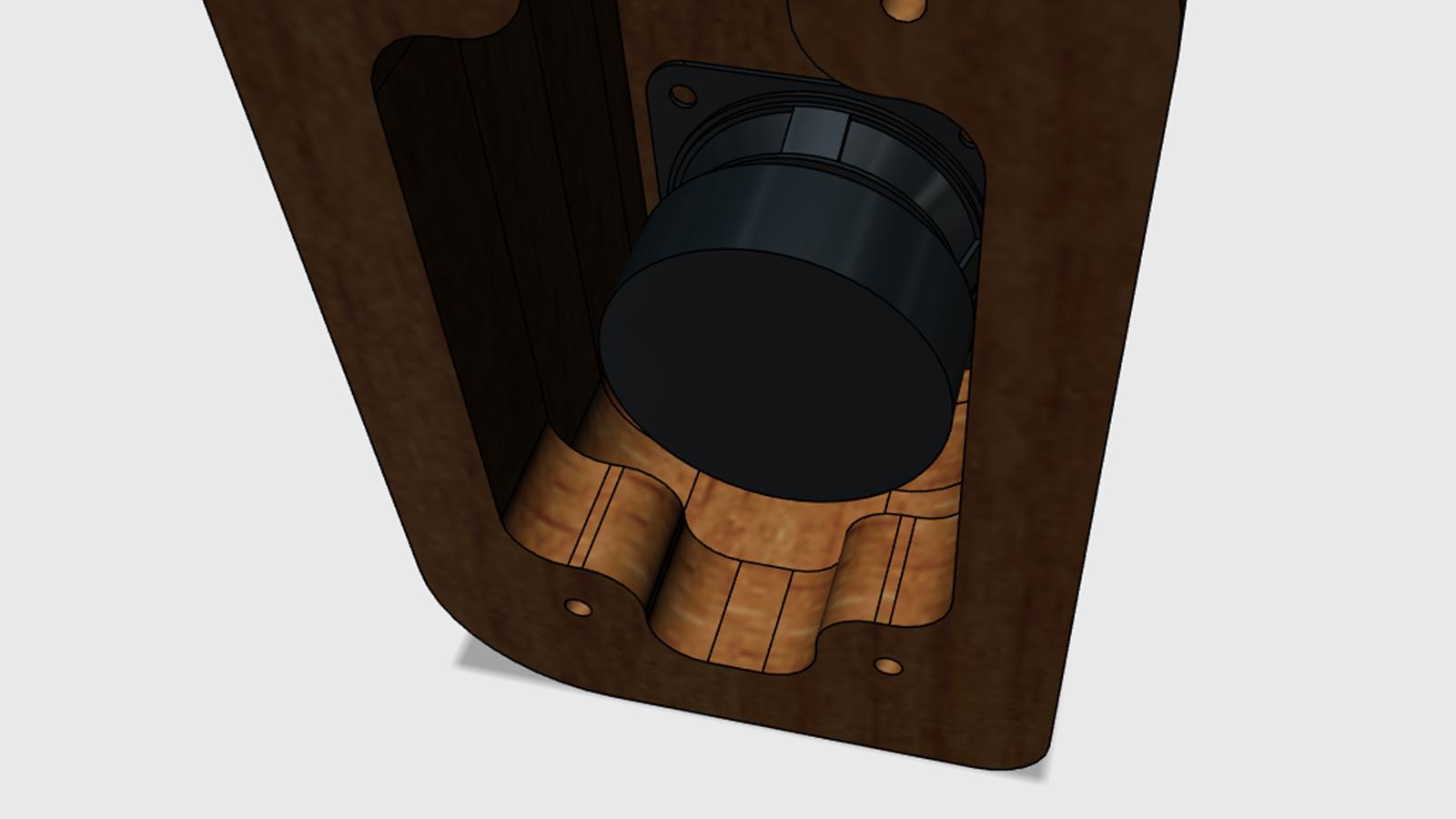 Reproduktory z akátového dřeva - detail
