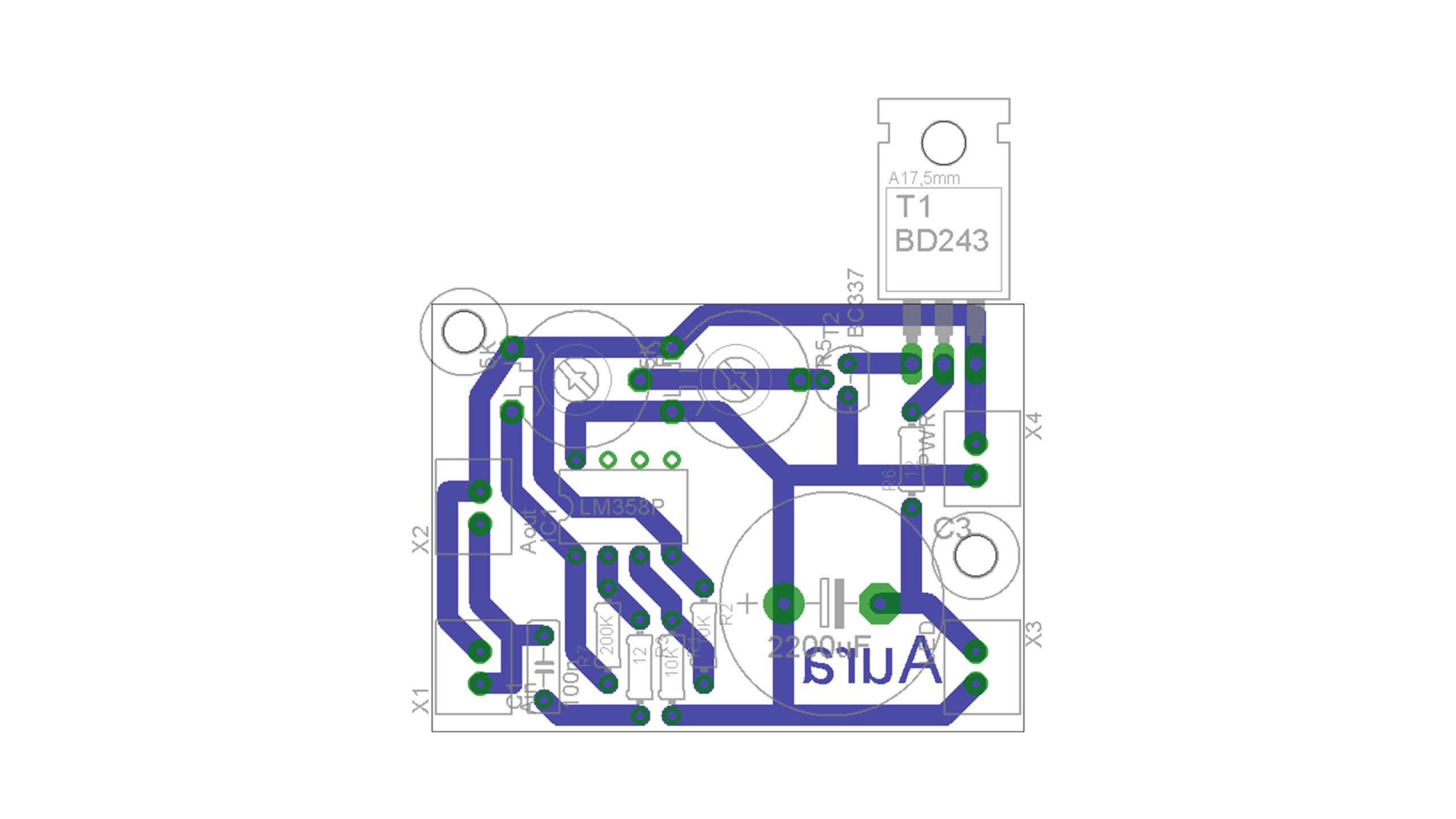 Aura - zapojení osazení desky elektroniky